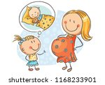 pregnant mother and little... | Shutterstock .eps vector #1168233901