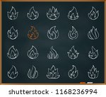 fire chalk icons set. outline... | Shutterstock .eps vector #1168236994