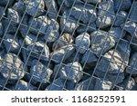stone gabion with grey stones | Shutterstock . vector #1168252591