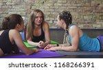 happy young sportswomen...   Shutterstock . vector #1168266391