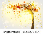 lonely autumn tree | Shutterstock .eps vector #1168273414