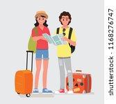 happy group of teen traveler ...   Shutterstock .eps vector #1168276747