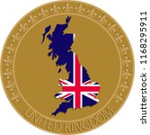 uk flag and map badge. wall... | Shutterstock .eps vector #1168295911