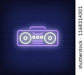 boombox neon sign. luminous... | Shutterstock .eps vector #1168314301