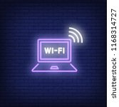 laptop computer and wi fi neon... | Shutterstock .eps vector #1168314727