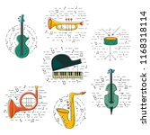 vector set with music... | Shutterstock .eps vector #1168318114