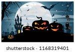 jack o lanterns smiling against ... | Shutterstock .eps vector #1168319401