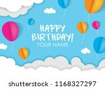 happy birthday with sky  cloud... | Shutterstock .eps vector #1168327297