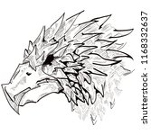 hand drawn fantasy bird with a...   Shutterstock .eps vector #1168332637