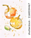 vegetables painted watercolor... | Shutterstock . vector #1168334467
