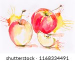 red yellow apples with... | Shutterstock . vector #1168334491
