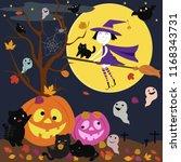 cute cartoon a witch riding a... | Shutterstock .eps vector #1168343731