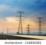 high voltage post.high voltage... | Shutterstock . vector #116836381