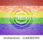 obedient emblem on mosaic... | Shutterstock .eps vector #1168382494