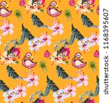 romantic pattern with flamingos ... | Shutterstock .eps vector #1168395607