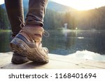 hiking boots close up against... | Shutterstock . vector #1168401694