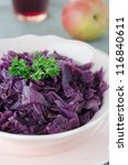 Red cabbage braised with apples close up - stock photo