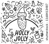 cute illustration of santa and...   Shutterstock .eps vector #1168413487