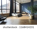large spacious loft room in... | Shutterstock . vector #1168414231