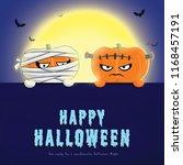 happy halloween party with... | Shutterstock . vector #1168457191