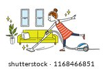 woman  room  cleaning  vacuum... | Shutterstock .eps vector #1168466851