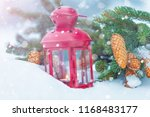 lantern with candle on snow...   Shutterstock . vector #1168483177