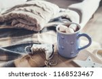 hot chocolate with marshmallow... | Shutterstock . vector #1168523467