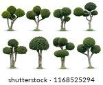Green Trees Bending Set Isolated - Fine Art prints