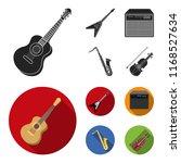 electric guitar  loudspeaker ... | Shutterstock .eps vector #1168527634