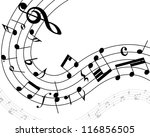 musical note staff with lines.... | Shutterstock .eps vector #116856505