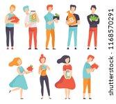 people holding piggy banks ... | Shutterstock .eps vector #1168570291