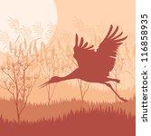 Crane landscape background vector - stock vector