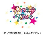 Party Time Sticker. Vector...