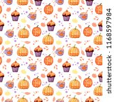 handdrawn seamless pattern with ... | Shutterstock . vector #1168597984