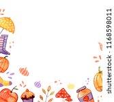 handdrawn autumn background... | Shutterstock . vector #1168598011