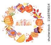 handdrawn autumn background.... | Shutterstock . vector #1168598014