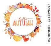 handdrawn autumn background.... | Shutterstock . vector #1168598017