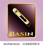 golden emblem with cutter icon ...   Shutterstock .eps vector #1168605814