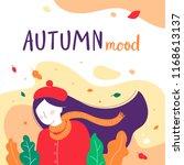 girl autumn mood illustration.... | Shutterstock .eps vector #1168613137