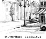 Retro city sketch, street, buildings and old cars vector illustration, pencil on paper style - stock vector
