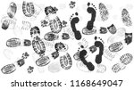 footprint of shoes on the road  ... | Shutterstock .eps vector #1168649047