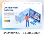 isometric food ordering. online ... | Shutterstock .eps vector #1168678834