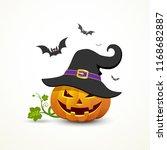 pumpkin wear black hats and bat ... | Shutterstock .eps vector #1168682887