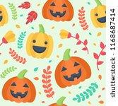 cute halloween seamless pattern.... | Shutterstock .eps vector #1168687414