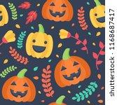 cute halloween seamless pattern.... | Shutterstock .eps vector #1168687417