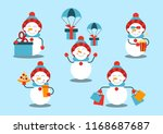 a set of snowmen. the snowman... | Shutterstock .eps vector #1168687687
