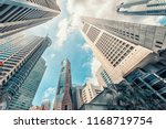 raffles place in singapore city | Shutterstock . vector #1168719754