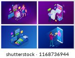 isometric fast delivery service ... | Shutterstock .eps vector #1168736944