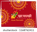 happy navratri festival design  ... | Shutterstock .eps vector #1168762411