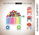 abstract vector shopping carts... | Shutterstock .eps vector #116878507